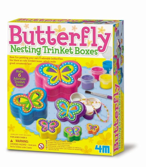 4M Butterfly Nesting Trinket Boxes (Multi-Colour)