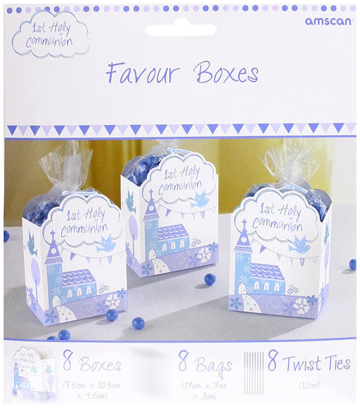 Amscan 9901900 7.5 x 4.5 cm Communion Church Blue Favour Boxes