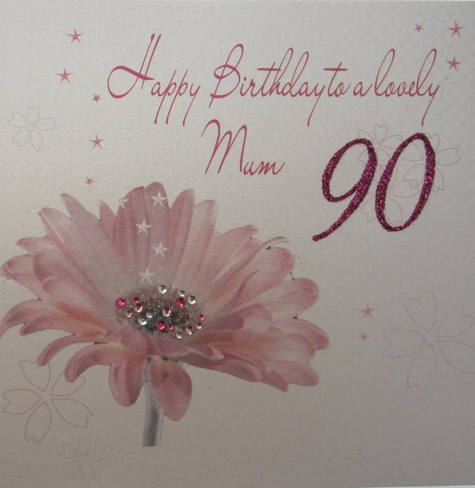 White Cotton Cards Happy 90th Birthday To A Lovely Mum Handmade Card
