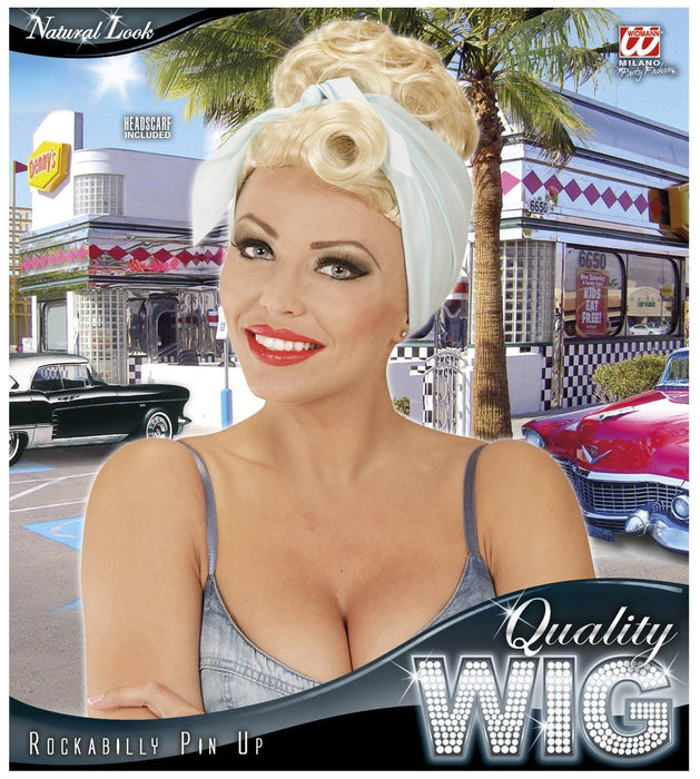 WIDMANN 01851 - Rockabilly Pin Up Girl with Blue Hair Band Wig, Blonde
