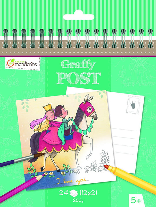 "Avenue Mandarine ""Knights and Princesses Theme"" Graffy Post Colour Your Own Postcard (Black/White)"