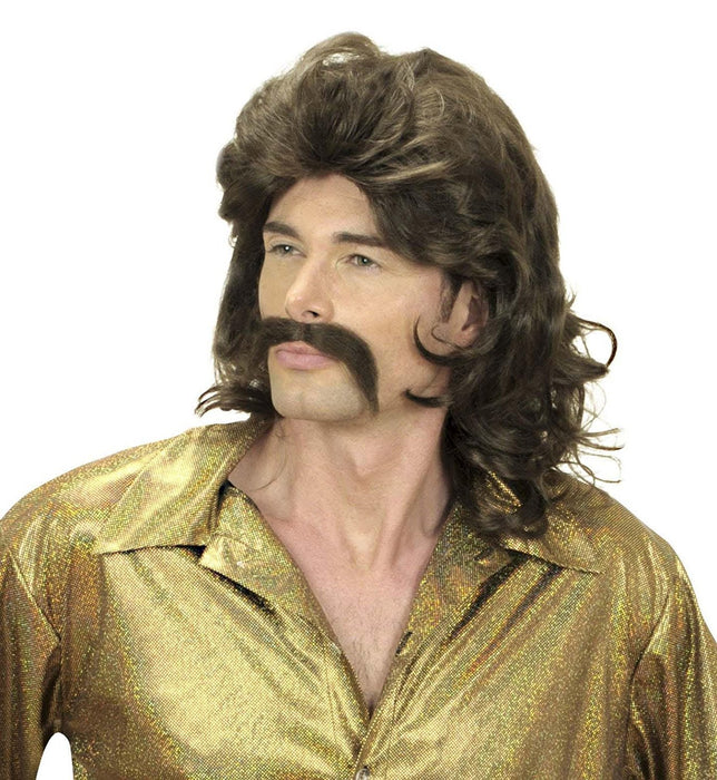 Mens 70s Man & Moustache - Brown Wig for Hair Accessory Fancy Dress