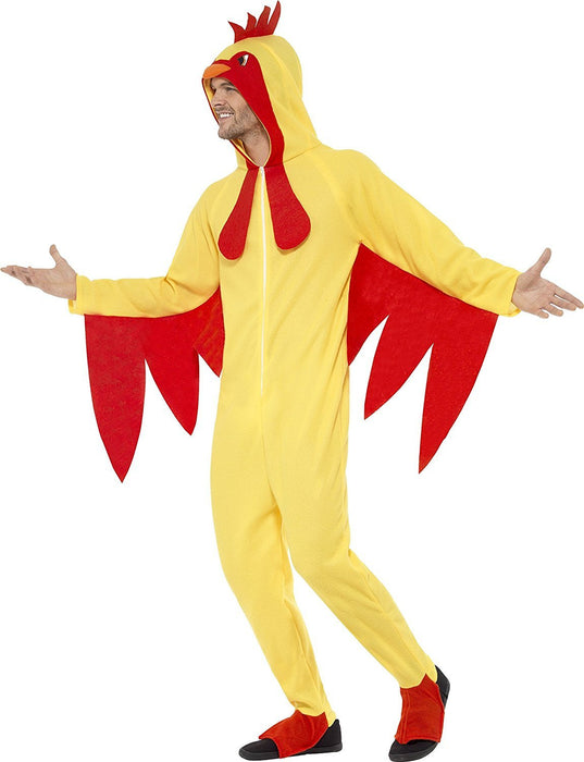 Smiffy's Adult men's Chicken Costume, Hooded All in One, Party Animals, Serious Fun, Size L, 27857
