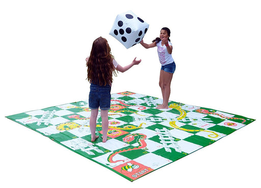 Garden Games Giant Snakes and Ladders game 3m x 3m PVC durable mat and 2 inflatable dice - great for all ages