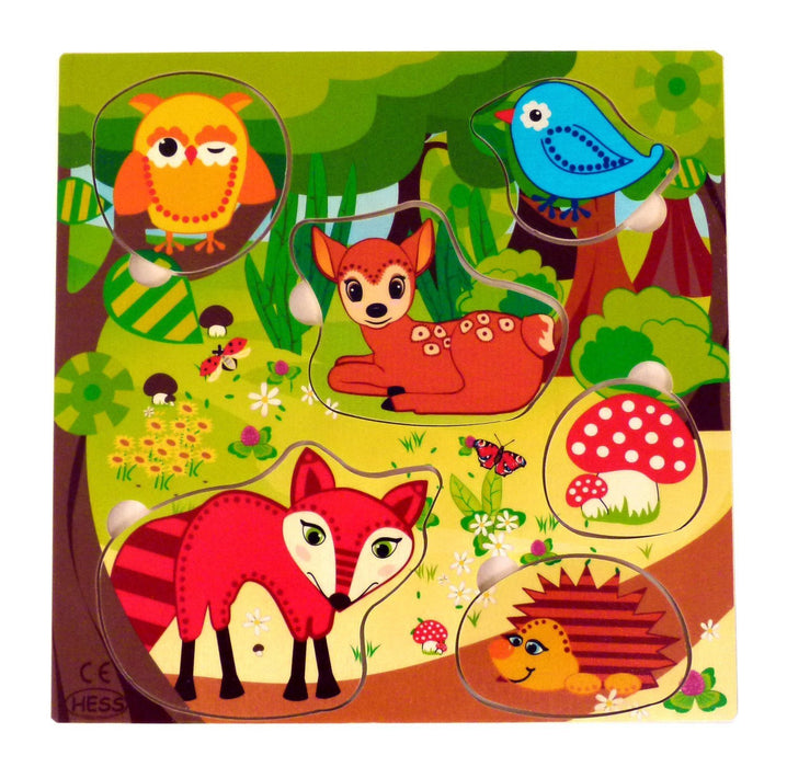 Hess Wooden Toddler Toy Handle Forest/ Animals Puzzle