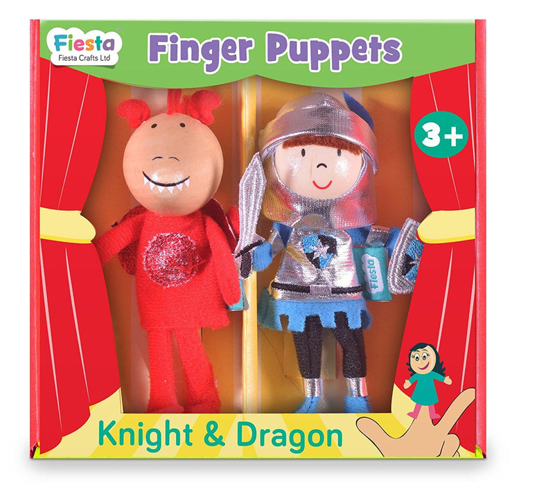 Fiesta Crafts Knight and Dragon Finger Puppet Set (2-Piece)