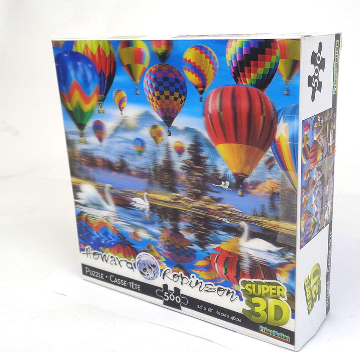 "Howard Robinson ""Hot Air Balloons\"" Super 3D Lenticular Puzzle Card, Multi-Colour"