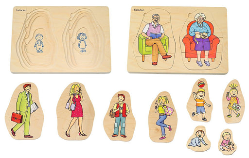 Beleduc - 17052 - Wooden Stacking Puzzle - Grandma & Grandpa - 40 Pieces