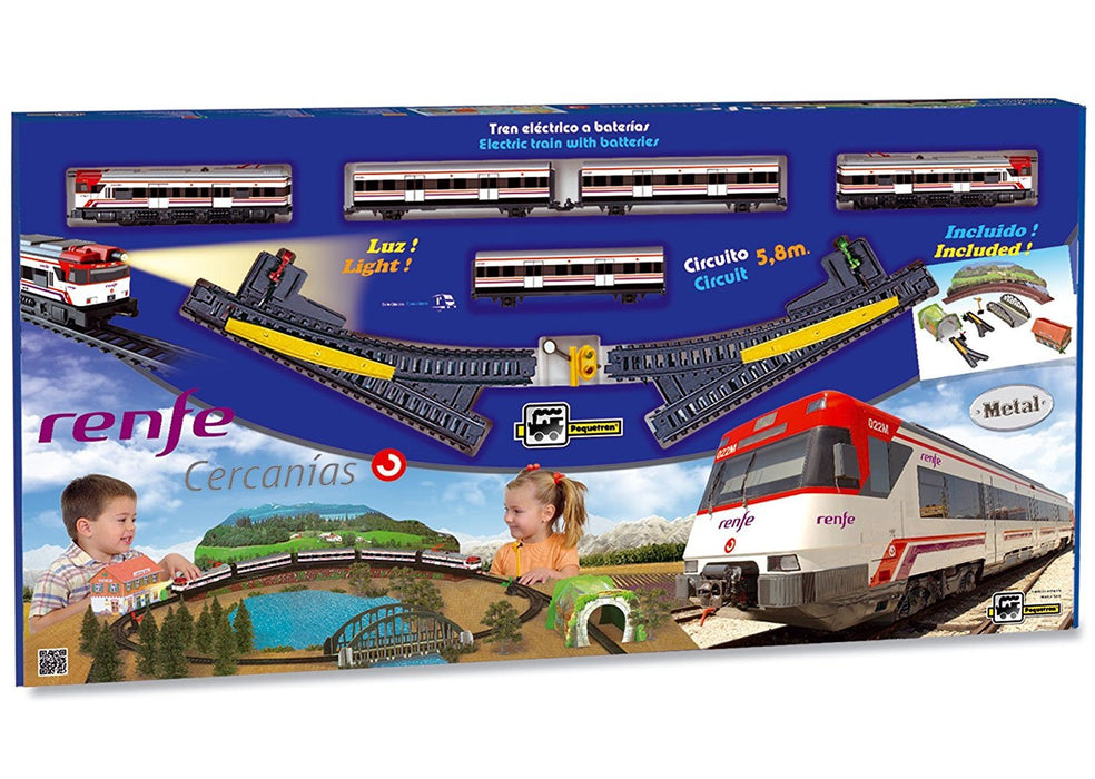 Pequetren Pequetren680 Classic Renfe Metallic Model with Light/Detours and Diorama Landscape