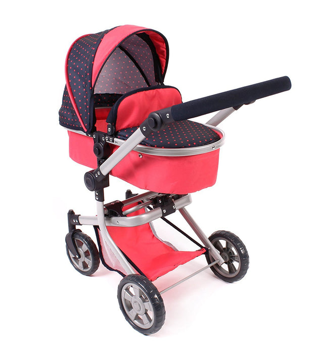 Bayer Chic 2000 595 11 - Mika COMBI Doll's Pram - Dots Coral