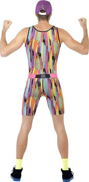 Smiffy's Adult men's Aerobics Instructor Costume, Bodysuit, Hat and Bum Bag, Back to the 90's, Serious Fun, Size M, 23696
