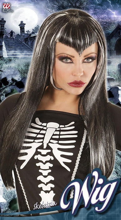 WIDMANN 00822 - Skel Etria Black Wig With White Streaks