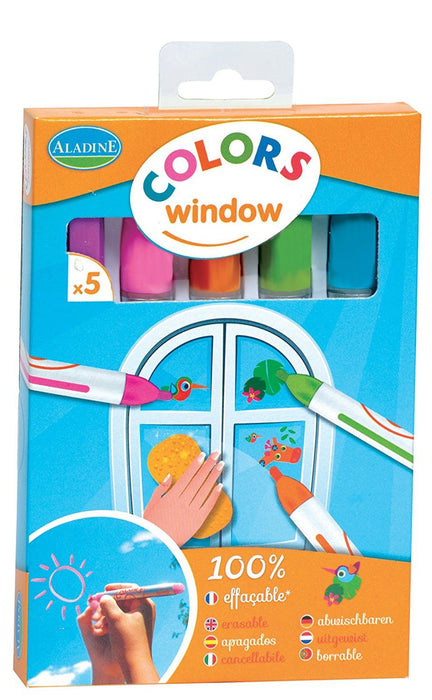 "Aladine ""Colors Window"" Chalk Window Crayons (5-Piece)"