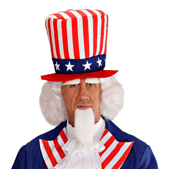 WIDMANN 06750 Uncle Sam Wig with Beard and Eyebrows - White