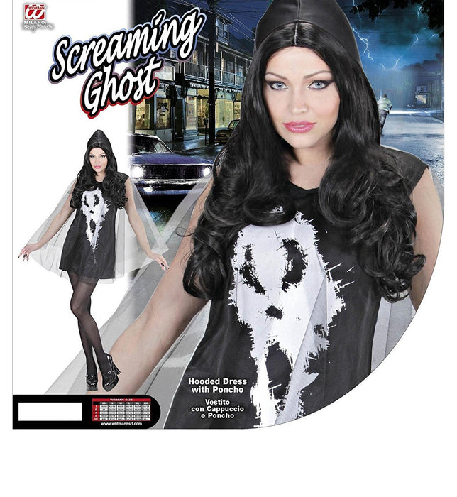 WIDMANN 02882 Screaming Ghost Lady - Adult Fancy Dress Costume Dress with Hood and Cape