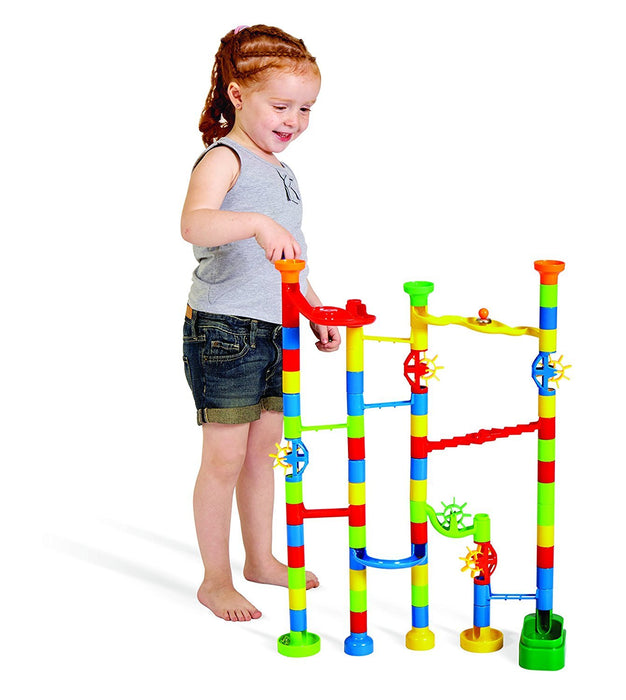 Edushape Marbulous Marble Run - 80 Pieces + 20 Marbles (Total 100 Pc Set) Sturdy Setups with Clear Step-by-step Illustrated Instructions in Four Different Skills Levels