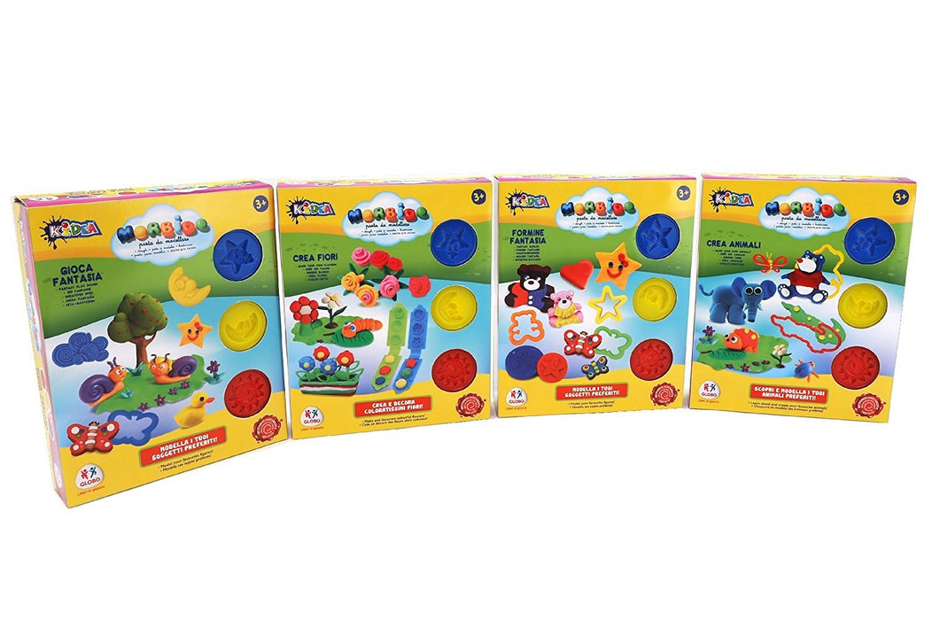 "Globo Toys Globo - 37679 ""4 Assorted Kidea Pots and Sousage"" Soft Clay Set with Accessories"