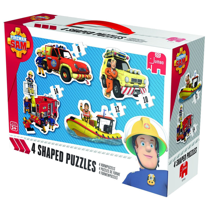 Jumbo Games Fireman Sam 4-in-1 Shaped Jigsaw Puzzles