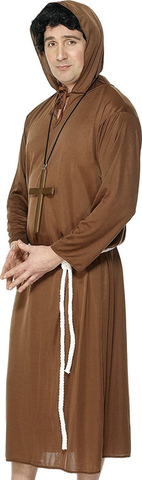 Smiffy's Adult men's Monk Costume, Hooded Robe and Belt, Saints and Sinners, Serious Fun, Size L, 20424
