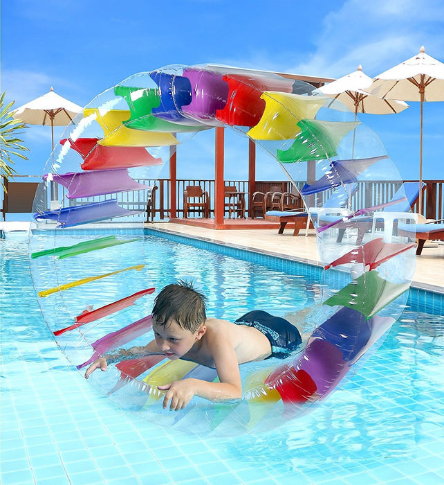 "Greenco Kids Colorful Inflatable Water Wheel Roller Float 52"" Diameter"