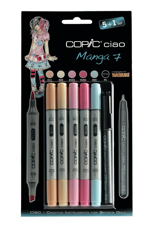 Copic Ciao Set includes Manga 7 Marker (Pack of 5)/ Multiliner Pen