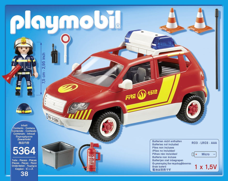 Playmobil 5364 City Action Fire Brigade Chief's Car with Lights and Sound - Mulit-Coloured