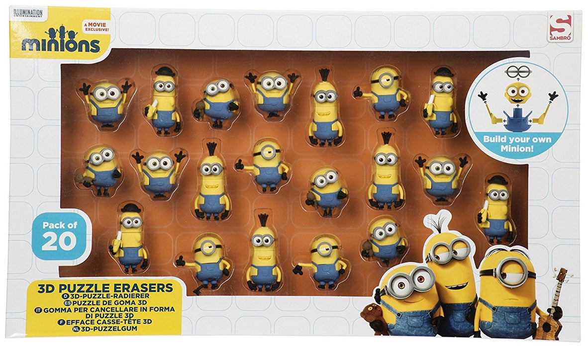 Sambro MIN3-6172 Minion 3D Puzzle Eraser in Window Box (Pack of 20)