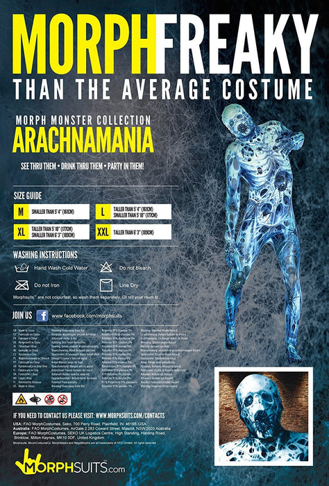 "Arachnamania Morphsuit Monster Fancy Dress Costume - size Medium - 5""-5""4 (150cm-162cm)"