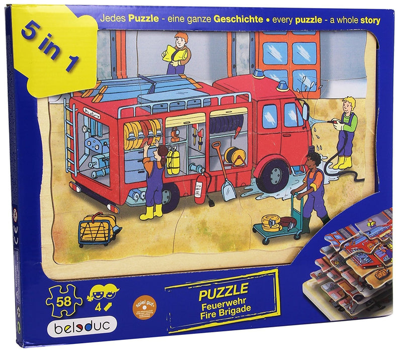 Beleduc - 17035 - Wooden Stacking Puzzle - Fire Brigade - 58 Pieces