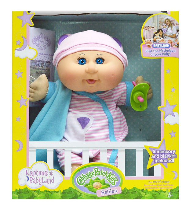 "Cabbage Patch Kids 12.5"" Naptime Babies - Bald/Blue Eye Girl (Pink Stripe Jumper)"