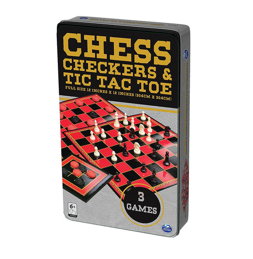 "Spinmaster 6036790 ""Chess/Checkers/TTT Tin"" Game"