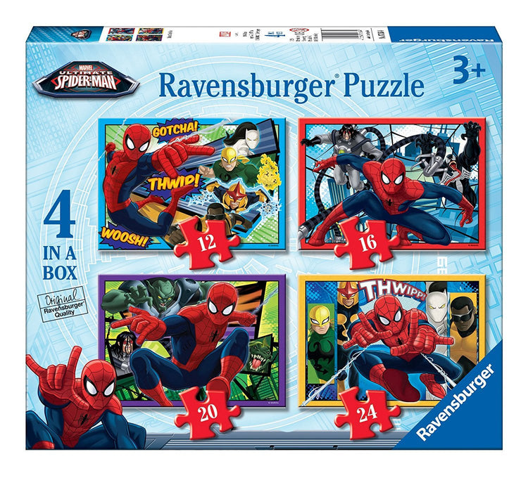 Ravensburger Marvel Ultimate Spider-Man 4 in a Box (12, 16, 20, 24pc) Jigsaw Puzzles