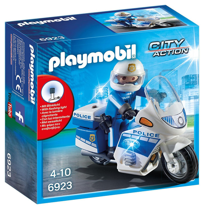 Playmobil 6923 City Action Police Bike Figure with Flashing Light and Policeman