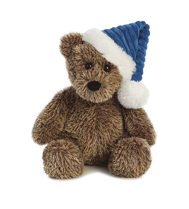 Aurora World Midnight Blue Cap Holiday Trevor Bear Plush, Blue, 12""
