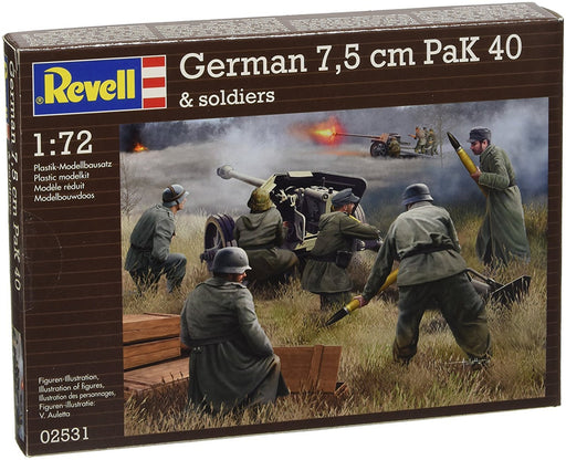 Revell 02531 with Soldiers, Scale 1: 72 - Model Kit - German PaK 40