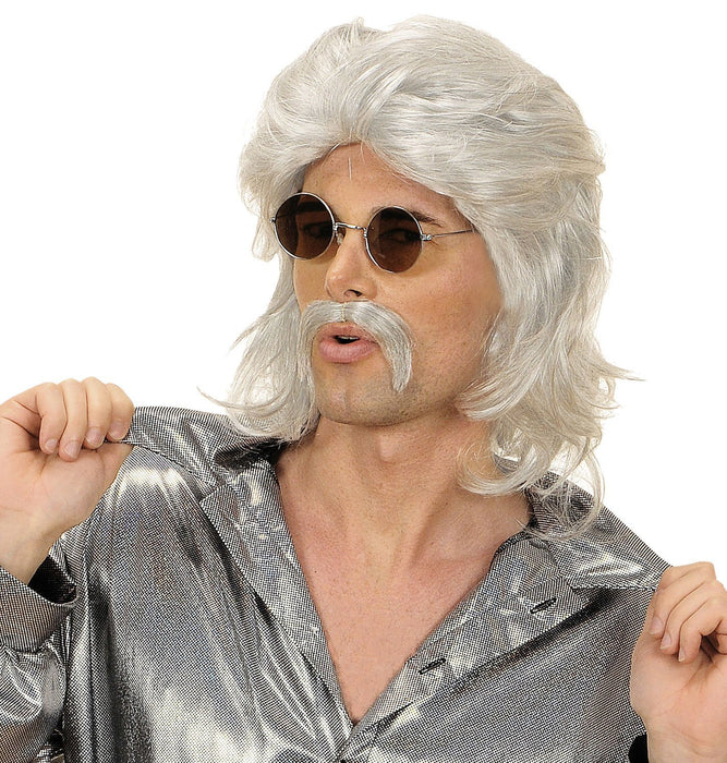 Mens 70s Man & Moustache - Grey Wig for Hair Accessory Fancy Dress