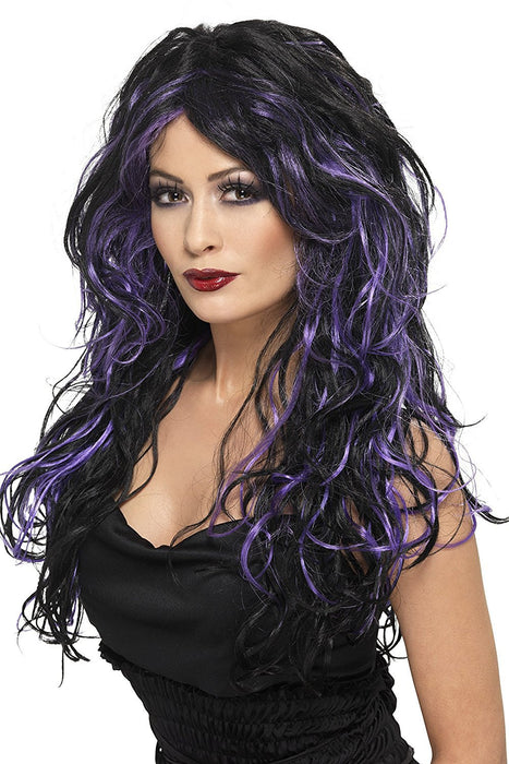 Smiffy's Women's Long Black and Purple Streaked Wig with Curls, One Size, Gothic Bride Wig, 5020570356838