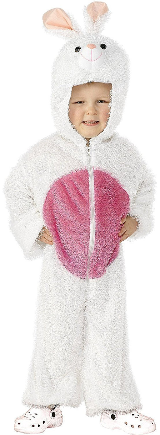Smiffy's Children's Unisex All In One Bunny Costume, Jumpsuit with Hood, Party Animals, Ages 4-6, Colour: White and Pink, 30016
