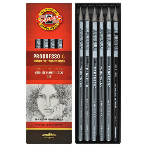 KOH-I-NOOR Progresso Woodless Graphite Pencil Set (Set of 6)