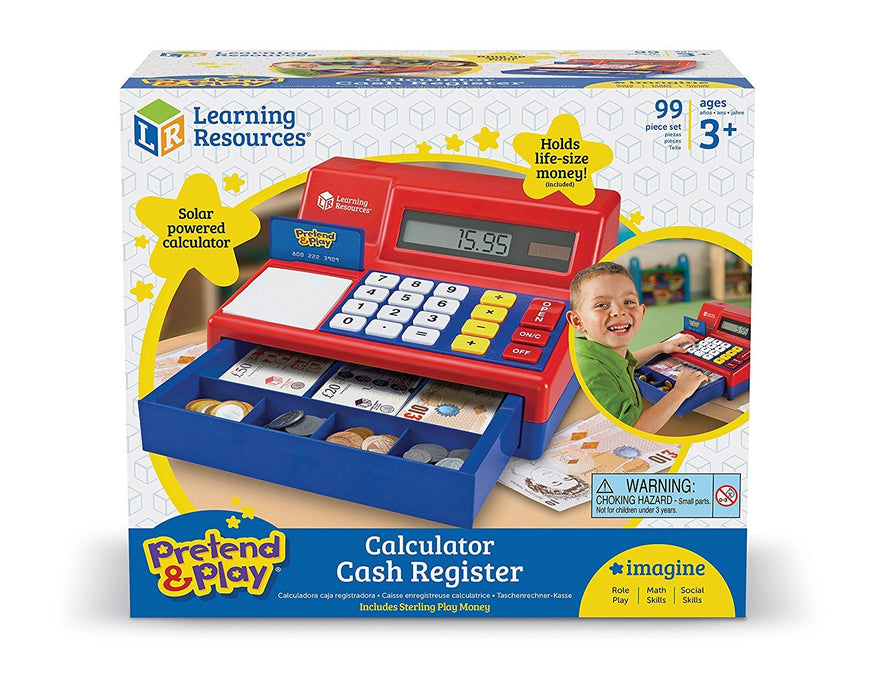 Learning Resources Pretend & Play Calculator Cash Register with UK Play Money
