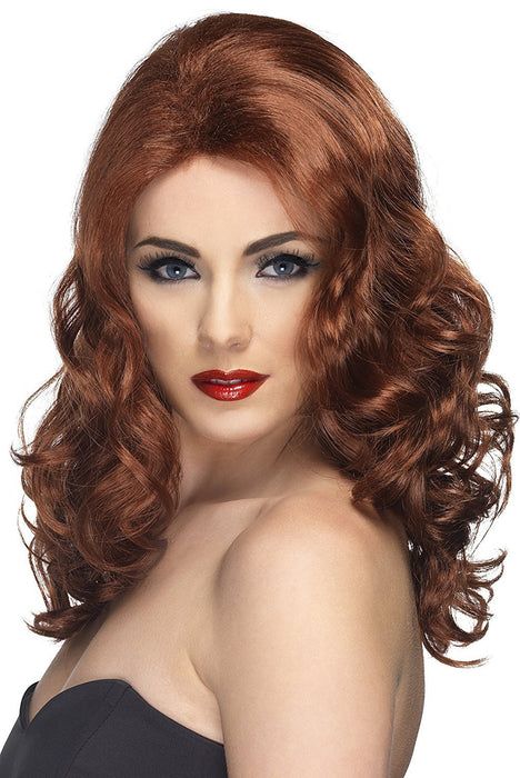 Smiffy's Women's Long and Wavy Auburn Wig, One Size, Glamorous Wig, 5020570421451