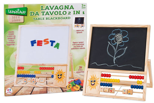 Globo Toys Globo - 36881 2-in-1 Legnoland Wooden Blackboard with 26-Magnetic Letters and 2-Chalk