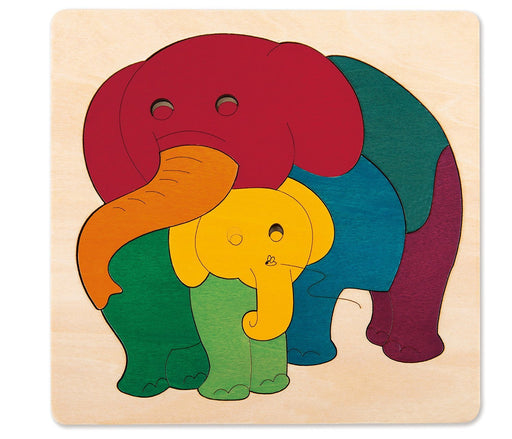 George Luck GLU-E6505 Elephant and Baby Wooden Puzzle