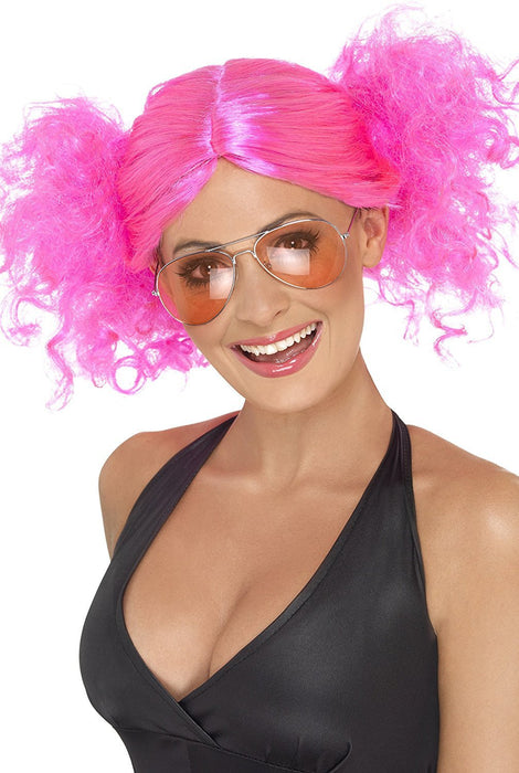 Smiffy's 80's Bunches Wig - Pink
