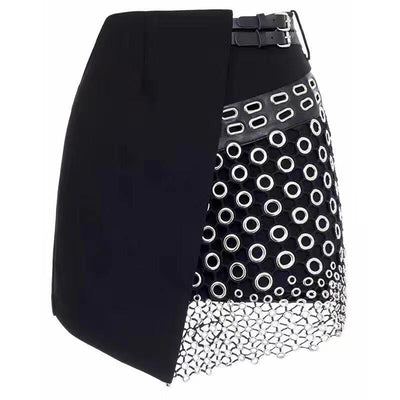 Metal Ringed Mini Skirt