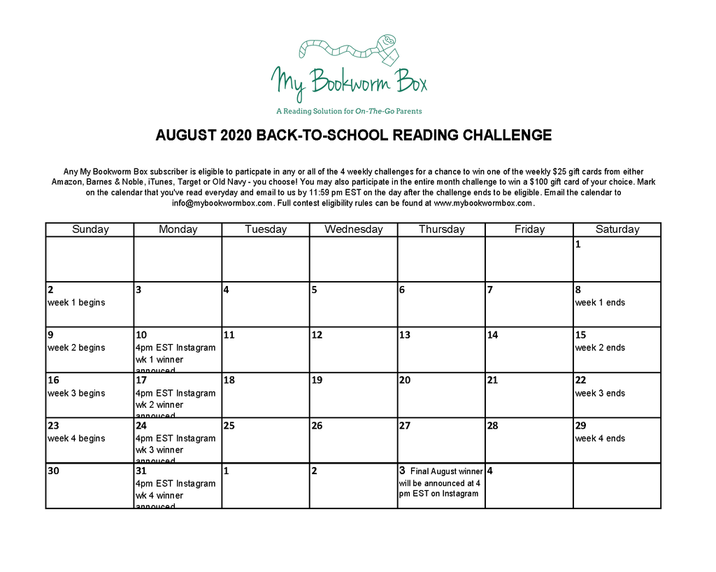 August 2020 Back-to-School Reading Challenge 📚