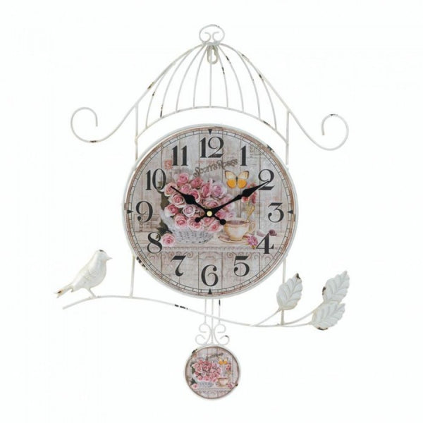 Birdcage Country Rose Wall Clock