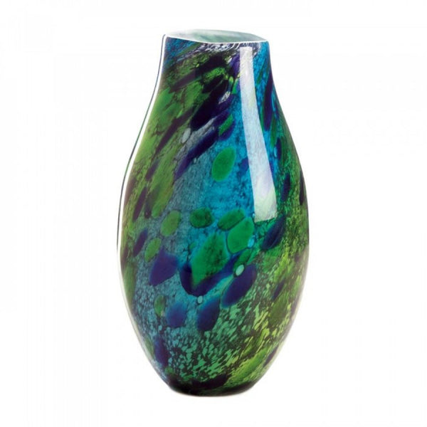 Peacock Inspired Art Glass Vase