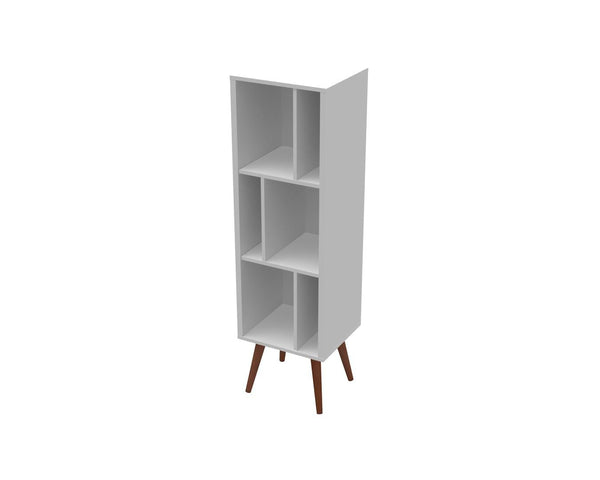 23603WH Large Cubby Bookcase White Satin