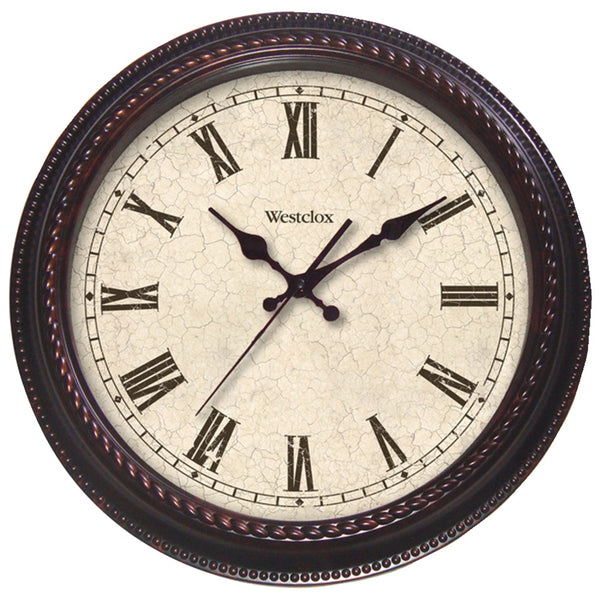 "Westclox 20"" Round Marbled Case Finish Clock"